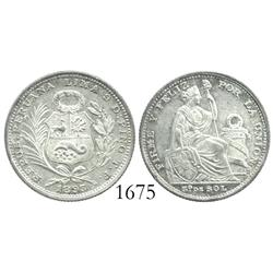 Lima, Peru, 1/5 sol, 1893TF, key date.