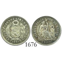 Lima, Peru, dinero, 1863YB.