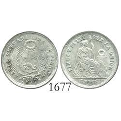 Lima, Peru, dinero, 1877YJ.