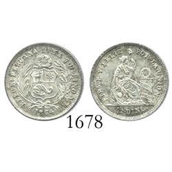 Lima, Peru, 1/2 dinero, 1864YB.