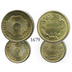 Lot of 2 bronze minors (2 and 1 centavos) of Lima, Peru, 1864.