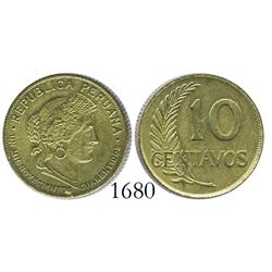 Peru (struck in Philadelphia), wartime brass 10 centavos, 1942 (spelled CUARENTAIDOS).