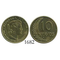 Peru (struck in San Francisco), wartime brass 10 centavos, 1943-S.