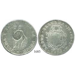 "Philippines, 8 reales, Ferdinand VII, ""F.7o"" countermark (Type V, 1832-34) on Lima, Peru, 8 reales,"
