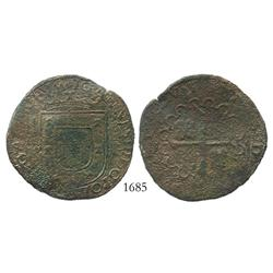 Lisbon, Portugal, copper 10 reis, John III (1521-1557), rare.