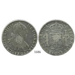 Portugal, 870 reis (1834), crowned-arms countermark on a Santiago, Chile, bust 8R, Charles IV, 1795D