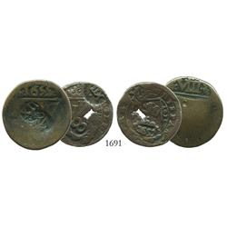 Lot of 2 copper 4 maravedis, Philip IV, various mints, with multiple revaluation countermarks.