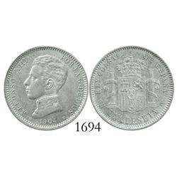 Madrid, Spain, 1 peseta, 1904SMV.