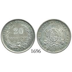 Uruguay, 20 centesimos, 1877-A.