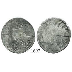 "US Colonial, ""quarter dollar"" made from 4 cut ""bits"" of a pistareen (Spanish milled 2 reales of Phil"