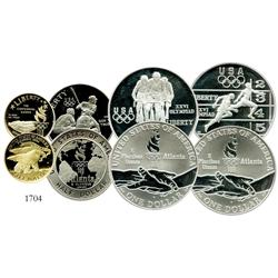 USA, commemorative set of 4 Proof coins (gold, silver and copper-nickel) for 1995 Atlanta Olympics.