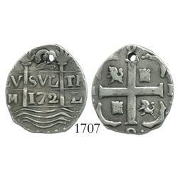 """Caracas, Venezuela, """"imitation cob"""" 2 reales, """"172"""" date, rare."""