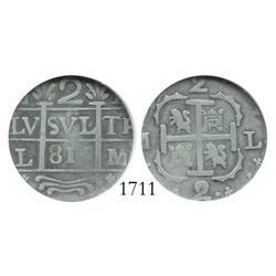 """Caracas, Venezuela, """"imitation cob"""" 2 reales, """"816"""" date, encapsulated NGC F-15, rare."""