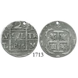 """Caracas, Venezuela, """"imitation cob"""" 2 reales, 1816, very rare."""