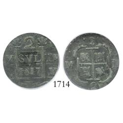 "Caracas, Venezuela, ""imitation cob"" 2 reales, 1817, encapsulated ICG VF-20."