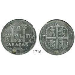 "Caracas, Venezuela, 4 Reales, 1820BS, variety with king's ordinal as ""o7"", encapsulated ANACS plugge"