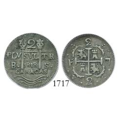 Caracas, Venezuela, 2 reales, 1818BS, encapsulated ICG VF-35.