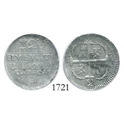 Caracas, Venezuela, 2 reales, 1820BS, encapsulated ICG EF-45.