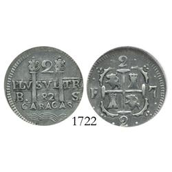 Caracas, Venezuela, 2 reales, 1820BS, encapsulated ICG VF-30.