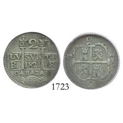 "Caracas, Venezuela, 2 reales, 1821BS, castle in upper-left quadrant, variety with ""antennas"" under c"