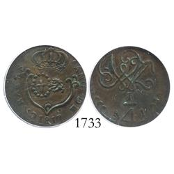 Caracas, Venezuela, copper 1/4 real, 1817, small date, encapsulated ICG VF-35.