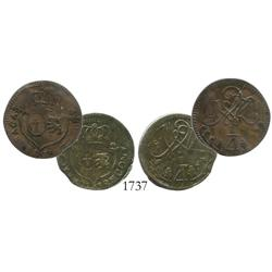 Lot of 2 Caracas, Venezuela, copper 1/4 reales, 1818, two different varieties.