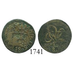 Caracas, Venezuela, copper 1/8 real, 1802, rare first coin of Venezuela.