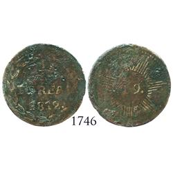 Caracas, Venezuela, copper 1/4 real, 1812, very rare.