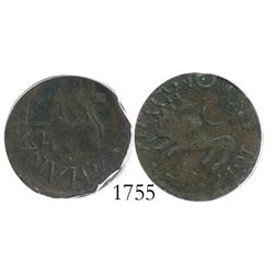 Guayana, Venezuela, copper 1/2 real, 1817, encapsulated ICG VF-30.