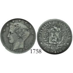 Venezuela (Paris), 2 reales, 1858-A, encapsulated NGC F-15, rare.