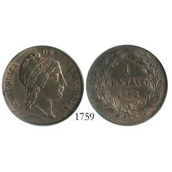 Venezuela (London), copper 1 centavo, 1852, encapsulated ANACS cleaned net AU details (old slab).