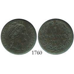 Venezuela (Heaton), copper 1 centavo, 1862, encapsulated NGC XF-40 BN.