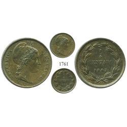 Venezuela, copper 1/4 centavo, 1843.
