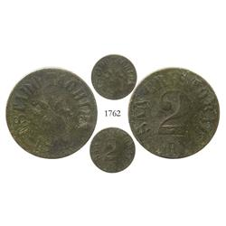 Táchira (San Christobal), Venezuela, bronze 2 reales, 1872, rare restricted-circulation coinage.