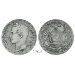 Venezuela (Paris), 50 centavos, 1876-A, encapsulated ANACS F-15.