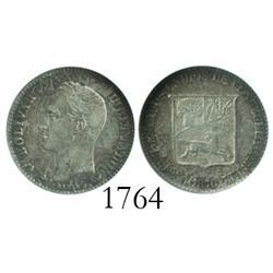 Venezuela (Paris), 5 centavos, 1876-A, unserifed A, encapsulated ANACS EF-40.