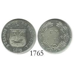 Venezuela (Philadelphia), copper-nickel 1 centavo, 1876, encapsulated ANACS AU-50.