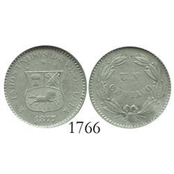 Venezuela (Philadelphia), copper-nickel 1 centavo, 1877, encapsulated ANACS AU-50.