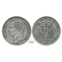 Venezuela (Paris), 5 Bolivares, 1901, encapsulated ICG EF-40.
