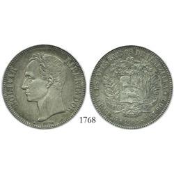 Venezuela (Paris), 5 Bolivares, 1904, encapsulated ANACS scratched AU-50 details.