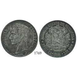 Venezuela (Paris), 5 Bolivares, 1911 (normal date), encapsulated ICG EF-45.