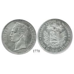 Venezuela (Paris), 5 Bolivares, 1912 (normal date), encapsulated ICG scratched-cleaned AU-55 details