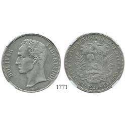Venezuela (Philadelphia), 5 Bolivares, 1929, high 9, encapsulated NGC AU-55.