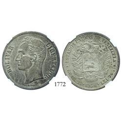 Venezuela (Philadelphia), 5 Bolivares, 1936 (normal date), encapsulated NGC AU-58.
