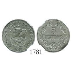 Venezuela (Berlin), copper-nickel 5 centimos, 1896, encapsulated NGC AU-50.