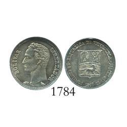 Venezuela (Paris), 25 centimos, 1960, encapsulated NGC MS-65.