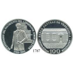 Venezuela (Wehrdole), proof 100 Bolivares, 1983, Bolivar Bicentennial, encapsulated NGC PF-67 Ultra