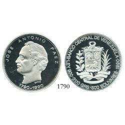 Venezuela (Mexico), proof 500 Bolivares, 1990, Paez Bicentennial, encapsulated NGC PF-69 Ultra Cameo