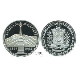 Venezuela (Wehrdole), proof 500 Bolivares, 1992, Battle of Matasiete, encapsulated NGC PF-68 Ultra C