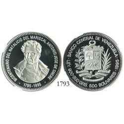 Venezuela (Canada), proof 500 Bolivares, 1995, Sucre Bicentennial, encapsulated NGC PF-69 Ultra Came
